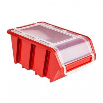 Pojemnik z pokrywą kuweta magazynowa 160x230x120 czerwony