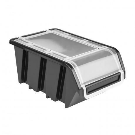 Pojemnik z pokrywą kuweta magazynowa 160x230x120 czarny