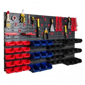 Tablica warsztatowa narzędziowa 140x77 cm + 48 kuwet i komplet uchwytów